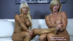 Muscle girls Megan Avalon and Goddess Rapture worship each others feet