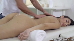 Tight pussy Nika has her masseuse take her virginity. She loves his hot cock inside her.