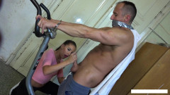 Bound and wank exercise with Eveline