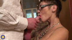 Pussy pierced mature secretary gets fucked in the office